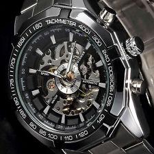 Luxury Men Black Stainless Steel Skeleton Automatic Mechanical Sport Wrist Watch