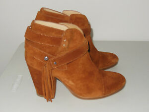 RAG & BONE BROWN HARROW FRINGED SUEDE ANKLE BOOTS SIZE 36