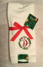"""Monogramed """"D� Set Of Christmas/winter Hand Towels, 2"""