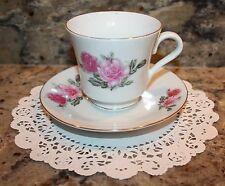 VINTAGE PINK ROSE BUD CERAMIC TEA CUP & SAUCER SET WITH GOLD TRIM MADE IN CHINA