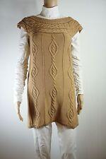 APART Design Long Zopf-Pullover camel beige braun 34 XS Strick Tunika Kleid lang