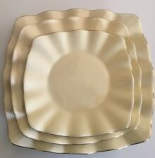 Elegant Alco Industries Inc Square Serving Set Ivory 24 Kt Gold Edge 3 Platers