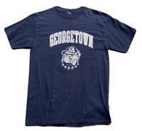 Vintage Georgetown Hoyas Champion T-Shirt Size Large Blue NCAA Basketball
