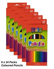 6 Packs x 24 Colour / Coloured Pencils Round Grip Art Colouring Drawing Kids