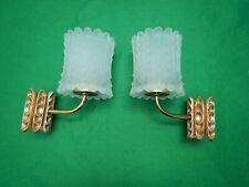 paire d'appliques rétro  bronze et verre années 50