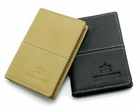 Mens Black Beige Real Leather Slim Credit Business Card Holder Case Wallet CH1