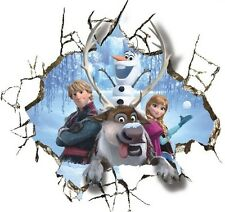 Huge 3D Frozen inspired Anna olaf Breaking through Wall Decals Removable Sticker