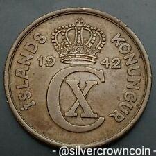 Iceland 5 Aurar 1942. KM#7.2. Five Cents coin. Christian X. Island.