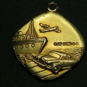 RARE 1967 LONDON 375 9CT GOLD GEORG JENSEN ST CHRISTOPHER PENDANT - DECO STYLE