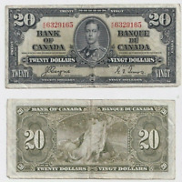 1937 $20 Bank of Canada Note Prefix K/E Coyne Towers - Fine
