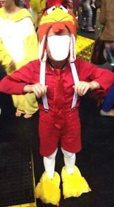 Kids Costume Foghorn Leghorn Rooster Book week Chicken Feet Beanie Size 5-6