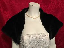 BLACK Faux Mink Fur Shawl Stole Cape Bolero Wrap Wedding Bridal Handmade XS-XXL