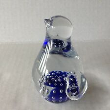 Vintage Murano Glass Penguin Figurine Paperweight blue Controlled Bubbles