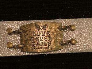 Lenny & Eva Leather Bracelet Sentiment - Love Never Fails - 1 Corinthians 13:8