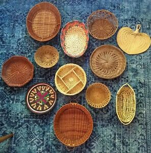 Set of 12 Boho Chic Gallery Wall Basket Decor Wicker Farmhouse Rustic Vintage