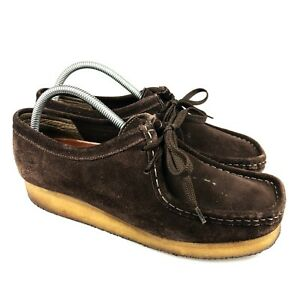 Clarks Womens Originals Wallabee 78984 Brown Low Top Suede Loafers Shoes Size 10