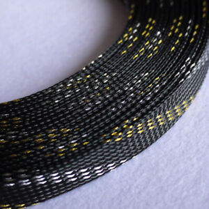 Ø4~16mm Black-Gold-Silver PET Braided Sleeving Cable Harness Sheathing Expanding