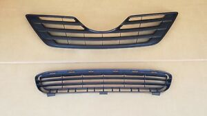 2PC Set 2007-2009 TOYOTA CAMRY LE BASE Front Bumper Upper Lower Grille NEW PAIR