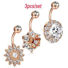 Prune Fleur Nombril Anneaux Femmes Strass Navel Bar Body Piercing Jewelry