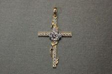 14K Solid Yellow Gold Beautiful Two Tone Crucifix Flower Cross CZ Charm Pendant.