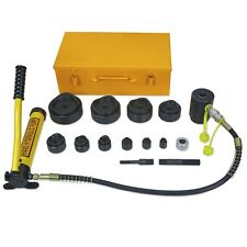 """NEW 15 Ton Driver Hydraulic Tool Kit w 10 Dies 1/2""""-4"""" Knockout Punch Set w Case"""