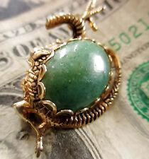 VINTAGE 1950s Goldtone GREEN FAUX EMERALD ORIENTAL DRAGON BROOCH PIN