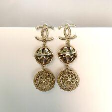Chanel Ball Double Filagree Bell Soft Gold Dangle Earrings
