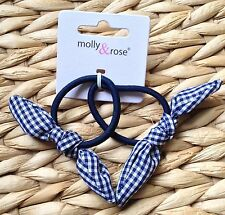 NEW 2 GINGHAM CHECK FABRIC MINI BOW KNOT PONYTAIL BRAID ELASTIC HAIR BAND BOBBLE