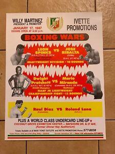 Rare 1987 Original Onsite Leon Spinks Vs. Jose Ribalta Vintage Boxing Poster
