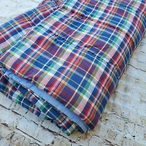 Vintage Ralph Lauren Twin Comforter~Blue, Red, Green~Garrison Plaid Bedding
