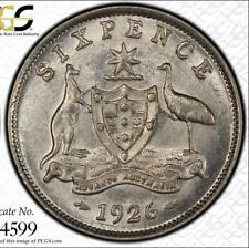 """1926 Australia Sixpence """"2 with Serif"""" PCGS graded MS62 - Rare keydate coin"""