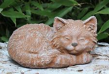 Steinfigur Katze schlafend Terrakotta Steinguss frostfest Gartenfigur Dekofigur