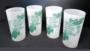 LOT of 4; EARLY TIMES Mint Julep; Vintage Frosted White; Kentucky Whiskey Glass