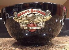 Harley Davidson Black Ceramic Popcorn Large Bowl Raised Logos PERFECT!