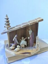 Christmas Nativity Figurine Creche Wood Vintage Slant Roof Burnt Edges