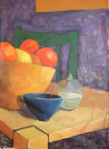 STILL LIFE WITH FRUITS AND BOWLS OIL PAINTING
