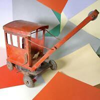 Vintage Triang Pressed Steel Crane for Restoration Very Tatty! Wheels Good!