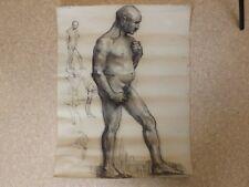 Dessin, Mine de Plomb, Etude d'Homme Nu datée 07/04/1937. Papier Ingres d'Arches