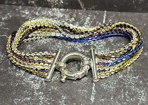 "MILOR 7.5"" Italy 10 Strand multi tone 925 Sterling Bracelet Large Spring ring"