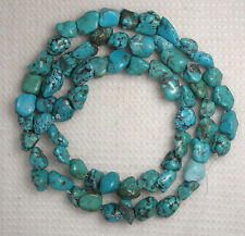 "Turquoise Loose Nugget Beads Natural Green Colors 16"" Std Craft Jewelry  #924"