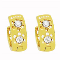 Elegant 18 k Gold Plated Jewellery Women White Zircons Hollow Hoop Earrings E893