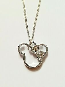 Minnie Mouse Gems Bow Charm Disney Ladies Girls Pendant Necklace Gift Pouch UK