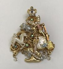 Kirks Folly Signed Pin Brooch Christmas Tree Enamel Rhinestone Gold Toned EX.