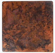 Mexican Square Copper Table Top Hand Hammered  Stained Patina 36 Inches