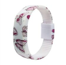 Ladies Girls LED Digital Butterfly Pattern Silicone Bracelet Watch