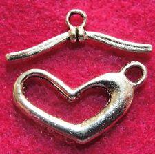 50Sets WHOLESALE Tibetan Silver HEART Toggle Clasps Connectors Hooks Q0944