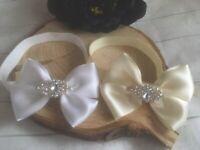 Baby Girl White Ivory Christening Headband Baptism Wedding Bow Naming Hairband