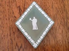 "Wedgwood Jasperware, 5 1/2"" Green Trinket Dish, Base Relief Greco Roman Figures"