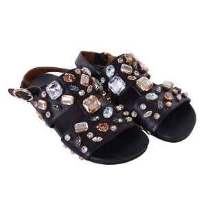 Dolce & Gabbana Strap Sandals Shoes Bianca With Crystals Black 06683