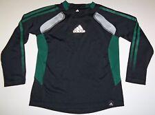 Adidas Boys Long Sleeve Black Green Shirt w/ Reflector Logo Size 5